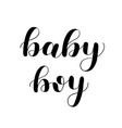 baby boy brush lettering isolated on white vector image