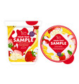 banana strawberry yogurt packaging design template vector image