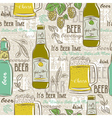 Beige seamless patterns with set of beer bottle vector image