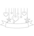 black and white poster - ribbon hearts and stars vector image vector image