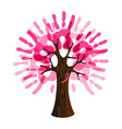 breast cancer care pink hand tree for charity help vector image vector image