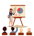 Businesswoman giving presentation using a board vector image vector image