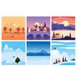calendar set landscape winter autumn in flat vector image vector image