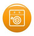 calendar target icon orange vector image vector image