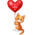 cartoon cat holding red heart balloon vector image vector image