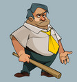 cartoon fat man in a tie with a bat in his hand vector image vector image