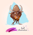 cartoon funny cute crazy bull vector image