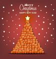 christmas tree made basketball balls vector image vector image