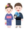 couple wearing japanese summer kimono vector image