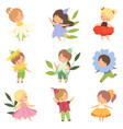 cute happy little kids wearing flowers costumes vector image