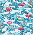 decorative pattern with lotuses and clouds vector image vector image