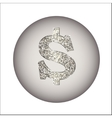Dollar made of silver or platinum vector image vector image