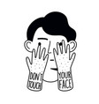 doodle with man head and touching face hands dont vector image vector image