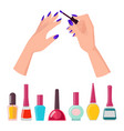 fingernails and polish poster vector image vector image