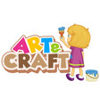 font design for word art and craft with girl
