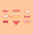 funny mouth collection on vector image vector image