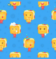 funny sandwich character seamless pattern vector image vector image