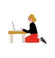 girl using laptop computer freelance or social vector image vector image