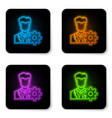 glowing neon profile settings icon isolated on vector image vector image