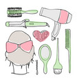 hairdressing tools doodle set vector image