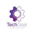 half flat and linear gear logo design repair vector image vector image