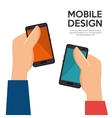hands holds mobiles design vector image
