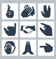 hands icons set cross fingers applause vulcan vector image