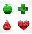 Heartbeat make family icon inside medical symbols vector image vector image