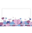 hearts pastel with white space frame background vector image