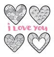 Hearts set in zentangle style vector image vector image