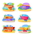hot summer sale promotional stickers with beach vector image vector image