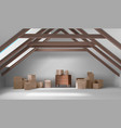 house attic interior mansard room with boxes vector image vector image