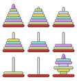 icon childrens pyramid a set of pyramids vector image vector image