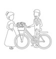 isolted newlywed couple bicycle vector image vector image