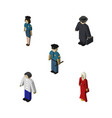 isometric person set of female officer detective vector image vector image