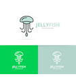 jellyfish and seafood logo design template vector image vector image