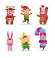 kids wearing christmas costumes cartoon happy vector image vector image