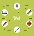 light green background poster of back to school vector image vector image
