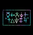 magic colourful alchemical symbols on a black vector image
