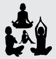 meditation and relax female act ion silhouette vector image