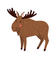 moose cute hand drawn elk isolated on white vector image vector image