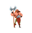 muscular viking warrior character with huge double vector image vector image