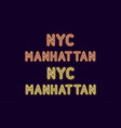 neon inscription of new york city manhattan vector image