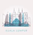 outline kuala lumpur skyline with landmarks vector image vector image