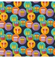 pattern with gift box icons in flat style vector image vector image