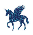 pegasus unicorn pattern silhouette mythology vector image