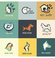 pets icons collection vector image vector image