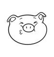 pig is sending a kiss emoji pig for coloring book vector image