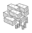 Piles of cash and coins icon in outline style vector image