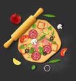 pizza ingredients dough salami mushrooms olives vector image